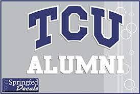 Amazon Com Tcu Horned Frogs Alumni W Tcu Logo 4 Vinyl Decal Texas Christian Car Truck Sticker Sports Outdoors