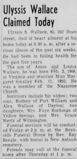 Obituary for Ulyssis Wallace (Aged 85) - Newspapers.com