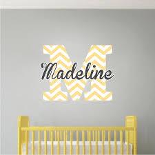 Monogram Wall Decal Initial Stickers Nursery And Kids Custom Name Initial Bedroom Decal Sticker Primedecals