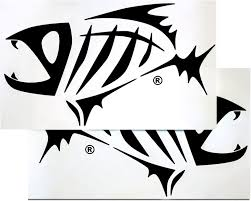 Amazon Com G Loomis Black Skeleton Fish Boat Decal Set Sports Outdoors
