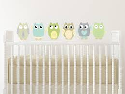 Amazon Com Owl Fabric Wall Decals Set Of 6 Owls Wall Stickers Green Taupe Grey Available In 4 Different Sizes Non Toxic Reusable Repositionable Baby