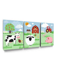Awkward Styles Farm Canvas Decor Farm Animals Framed Art Kids Room Wall Art Cute Animals Ready To Hang Picture Set Of 3 Sunny Household Newborn Baby Room Decor Farm Wallpapers Made In