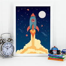 Space Rocket Poster Prints Nursery Wall Art Decor Boys Gift Spaceship Illustration Art Canvas Painting Kids Room Decorations Painting Calligraphy Aliexpress