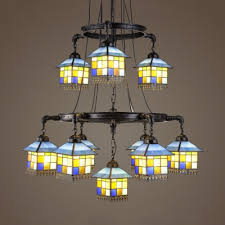 stained glass house shade chandelier 2