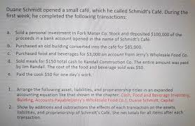 Solved: Duane Schmidt Opened A Small Café, Which He Called...   Chegg.com