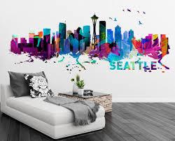 Seattle Washington Skyline Watercolor Art Decal Sticker For Housewares On Luulla