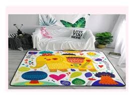 Best Seller Cartoon Elephant Carpets Soft Flannel Area Rugs Parlor K