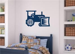 Tractor With Initials Vinyl Decal Wall Stickers Letters Words Boy Nursery Room Decor