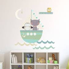 Owl And Pussycat Fabric Wall Stickers Kids Room Wall Stickers Baby Wall Decor Fabric Wall
