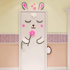 Funny Baby Bunny Design Diy Acrylic Sticker For Kids Room Door Decor Refrigerator Decoration Wall Stickers Aliexpress