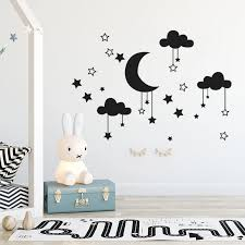 Wall Decal Baby Nursery Room Cloud Stars And Moon Wall Sticker Art Home Decor Mural Clouds Nursery Children Bedroom Decor Sticke Wall Stickers Aliexpress