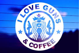 I Love Guns And Coffee Car Decal Sticker
