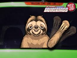 Chewy The Waving Sloth Wipertags Decal For Rear Vehicle Wiper Blades Wipertags