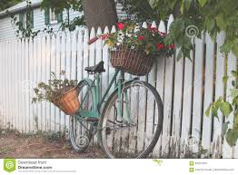 Bicycle Leaning On A White Picket Fence Stock Image Image Of Flowers Fashioned 84557293
