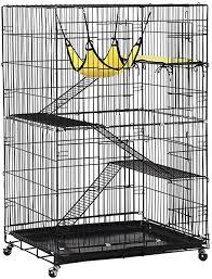 Amazon Com Yaheetech Collapsible Large 3 Tier Metal Wire Pet Cat Kitten Ferret Chinchilla Cage Playpen Crate Enclosure Kennel Cat Home On Wheels Indoor Outdoor 3x Ramp Ladders 1x Hammock Pet Supplies