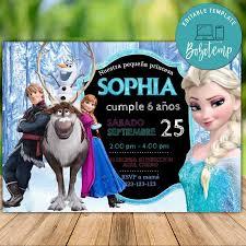 Invitacion De Cumpleanos De Disney Elsa Anna Frozen Para Imprimir