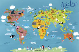 Vinyl Rug For Kids World Map With Animals Tenstickers