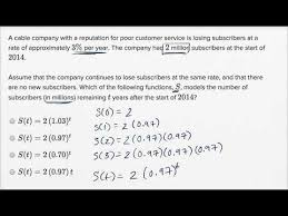 quadratic and exponential word problems