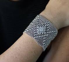 silver mesh cuff bracelet crystal