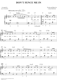 Buy Don 39 T Fence Me In Sheet Music For Easy Piano Vocal Chords