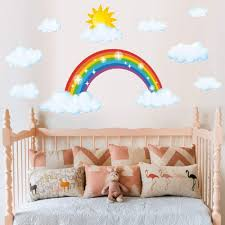 Amazon Com Large Sparkling Rainbow Wall Decal 21 6 X43 7inch Rainbow Cloud Sun Wall Sticker Peel And Stick Removable Rainbow With Sun Clouds Wall Stickers Wall Mural For Kids Nursery Bedroom 21 6 X43 7inches Kitchen