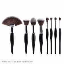 head wood makeup brushes fan flat
