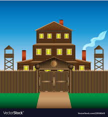 A Large Three Story Log House With A Wooden Fence Vector Image