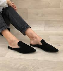 women s mules black leather mules