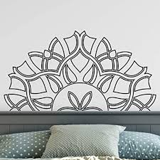 Amazon Com Mandala Vinyl Wall Decor Sticker Half Mandala Wall Decals For Home Apartment Living Room Bedroom Inspirational Mandala Wall Decal Removable Art Stickers Decor Black 38 X 20 In Arts