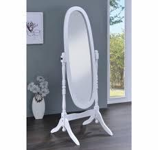 Adela White Wood Cheval Mirror by Coaster
