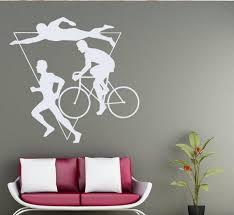 Diy Creative Wall Sticker Swimming Cycling Running Wall Sticker Sport Gym Triathlon Multiple Art Mural Home Decoration Wish