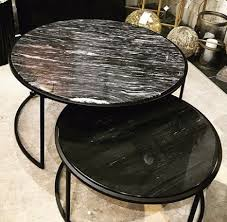 black marble nest of 2 coffee tables
