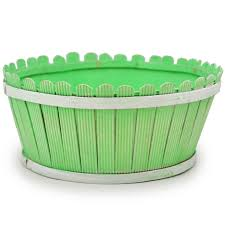 Springtime Picket Fence Round Basket Light Green The Lucky Clover Trading Co