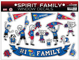 Amazon Com Ncaa Kansas Jayhawks Spirit Family Window Decals Sports Fan Wall Decor Stickers Sports Outdoors