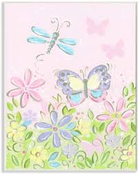 The Kids Room By Stupell Flowers And Butterflies Growth Chart Wall Decor