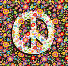 flowers print and peace symbol
