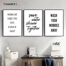 Bathroom Wash Quotes Posters Print Wall Art Picture Wash Your Hands Bathroom Toilet Canvas Painting Bathroom Decoration Painting Calligraphy Aliexpress