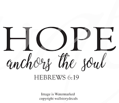 Wall Art Decal Home Decor Wall Decal Hope Anchors The Soul Scripture Hebrews 6 19 Sayings Sign Letters Lettering Words Christian