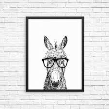 Donkey Wall Art Print Hipster Farm Animal Wall Decor Nursery Kids Ro The Pawster