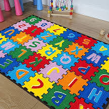 Amazon Com Cr Kids Baby Room Daycare Classroom Playroom Area Rug Abc Puzzle A Z And 1 9 Educational Fun Bright Colorful Vibrant Colors 3 Feet X 5 Feet Toys Games