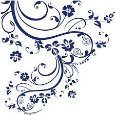 Amazon Com Navy Blue Swirl Flower Floral Design Wall Decal 100 X 29 262a Arts Crafts Sewing
