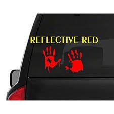 Set Of 2 Red Reflective Bloody Hand Print M49 Zombie Outbreak Vinyl Decal Sticker Car Truck Laptop Netbook Window Walmart Com Walmart Com
