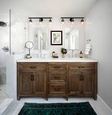 bathroom with distressed cabinets