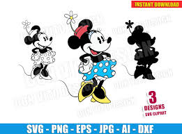Retro Minnie Mouse Svg Dxf Png Disney Classic Vector Clipart Cut Files