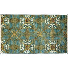 blue wool hand knotted rug
