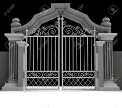 Cemetery Gate With Metallic Fence In Midnight Illustration Stock Photo Picture And Royalty Free Image Image 19250485