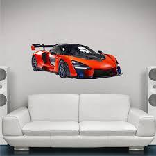 Amazon Com 48 Mclaren Senna Hyper Car Wall Decal Vinyl Sticker Graphic Racing Track Day Super Car Red Carbon Fiber V 8 Man Cave Decor Boys Bedroom Home Kitchen