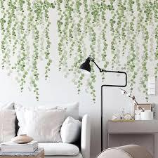 Vova 2pcs Set Flash Room Beach Tropical Wall Stickers Home Bedroom Decor Palm Leaves Wallpaper Diy Wall Art