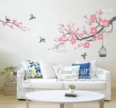 Cherry Blossom Wall Decal Birds Wall By Cuma Wall Decals On Zibbet