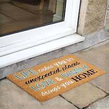 jvl simple quotes latex backed coir entrance door mat love and